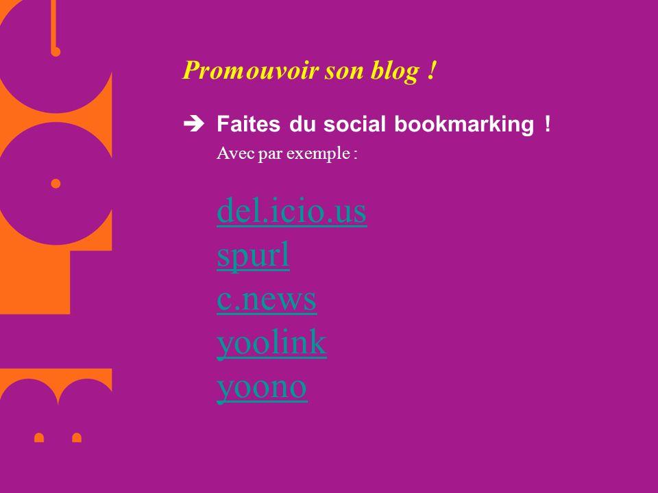 Promouvoir son blog .  Faites du social bookmarking .