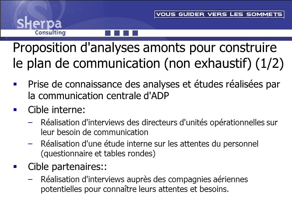 Proposition d analyses amonts pour construire le plan de communication (non exhaustif) (1/2)
