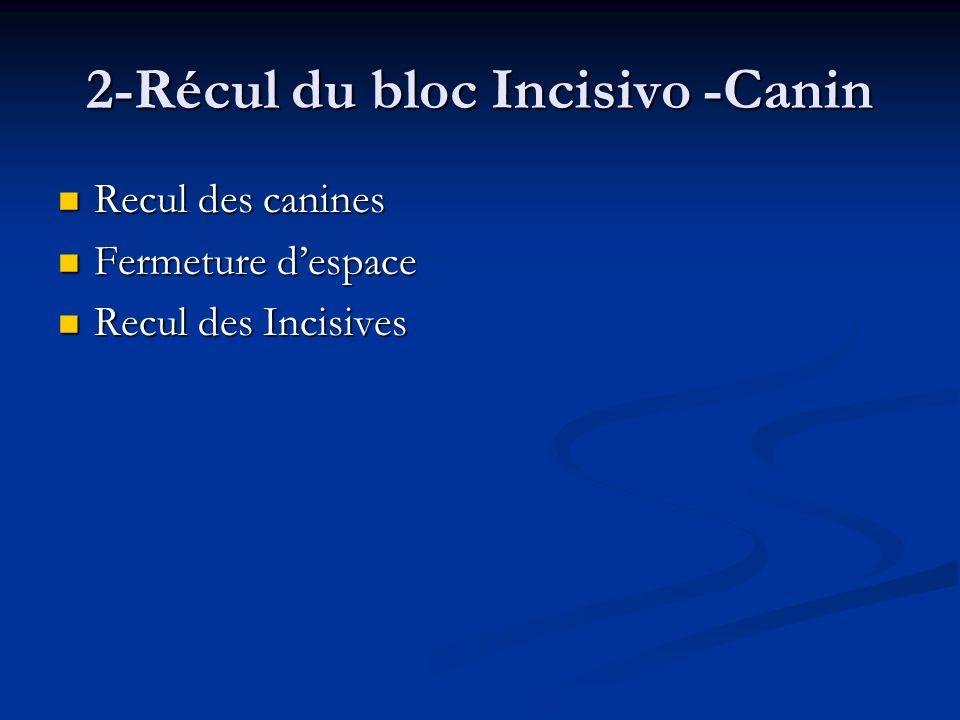 2-Récul du bloc Incisivo -Canin