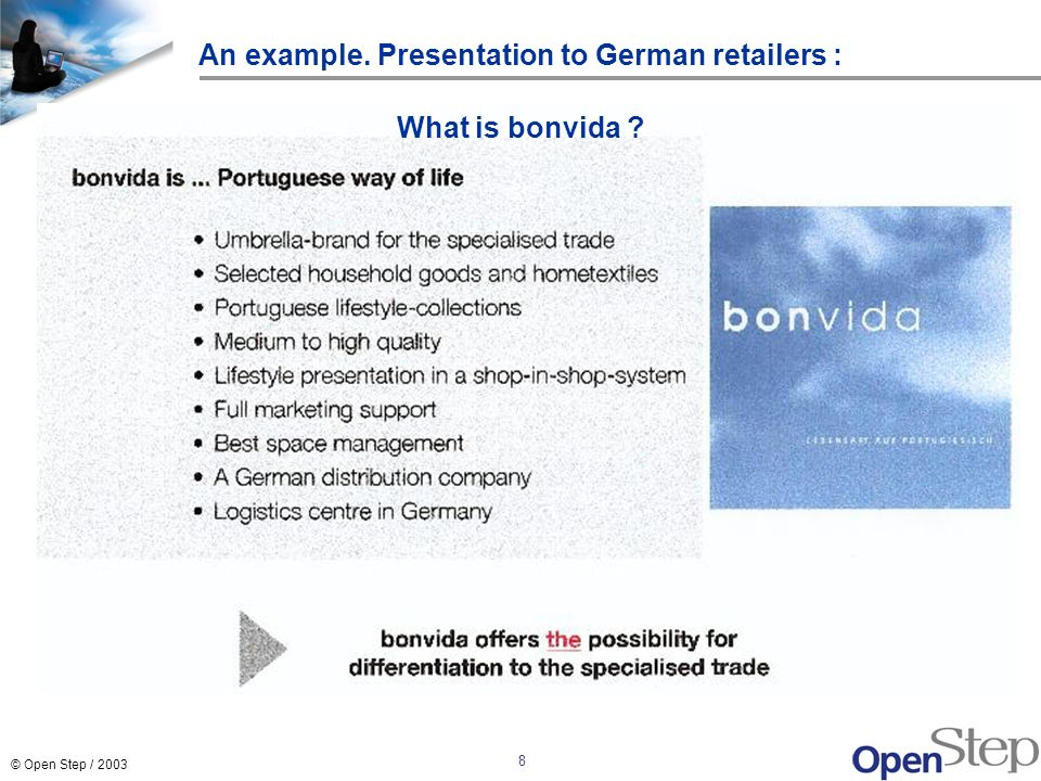 An example. Presentation to German retailers :