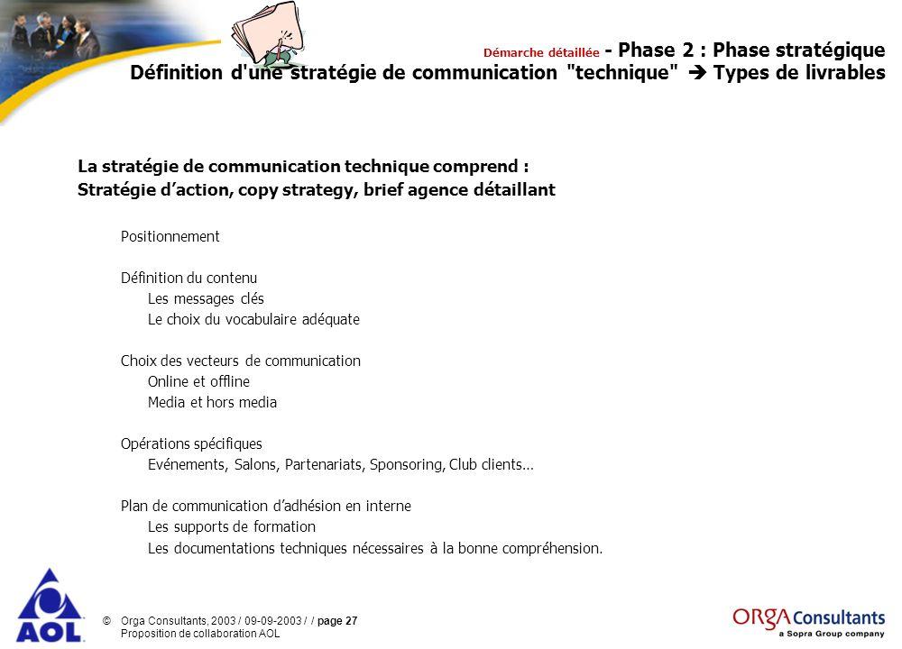 La stratégie de communication technique comprend :