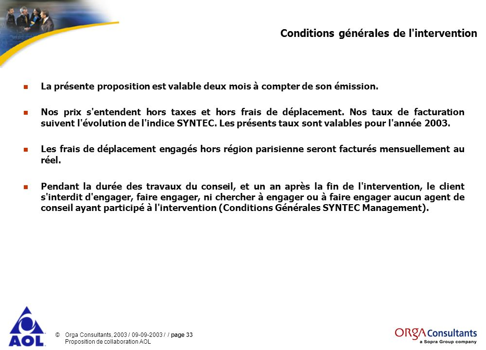 Conditions générales de l intervention