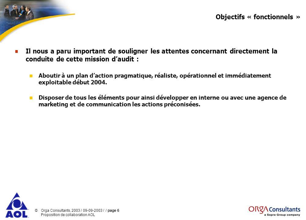 Objectifs « fonctionnels »