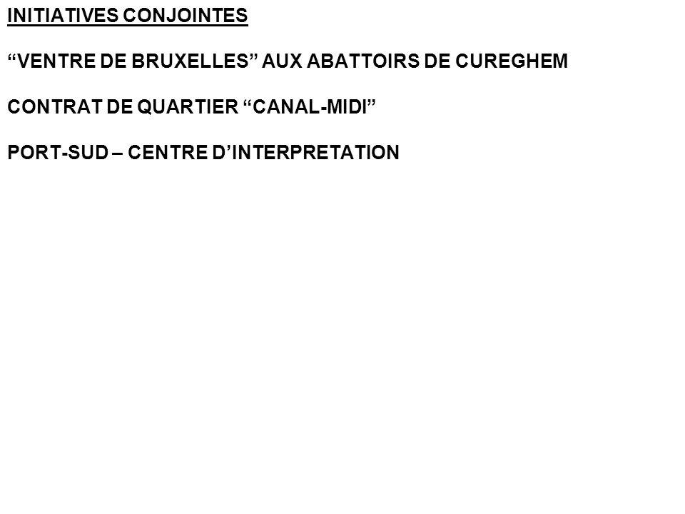 INITIATIVES CONJOINTES VENTRE DE BRUXELLES AUX ABATTOIRS DE CUREGHEM CONTRAT DE QUARTIER CANAL-MIDI PORT-SUD – CENTRE D'INTERPRETATION