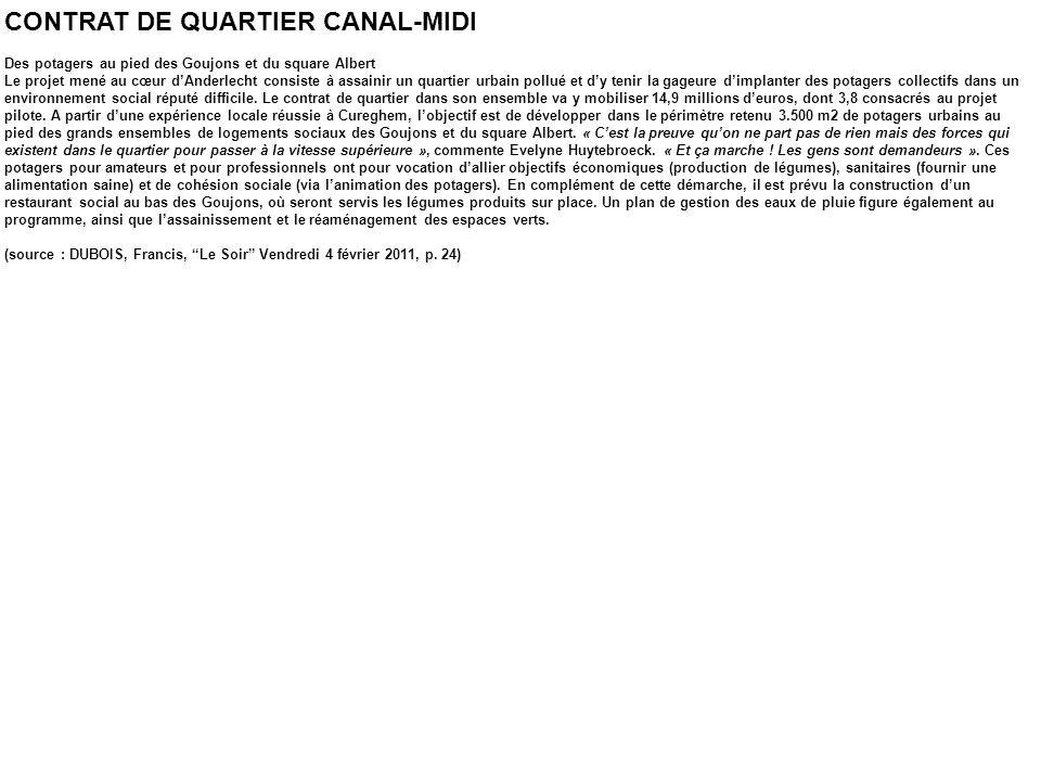 CONTRAT DE QUARTIER CANAL-MIDI