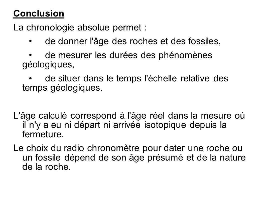 ConclusionLa chronologie absolue permet : • de donner l âge des roches et des fossiles, • de mesurer les durées des phénomènes géologiques,