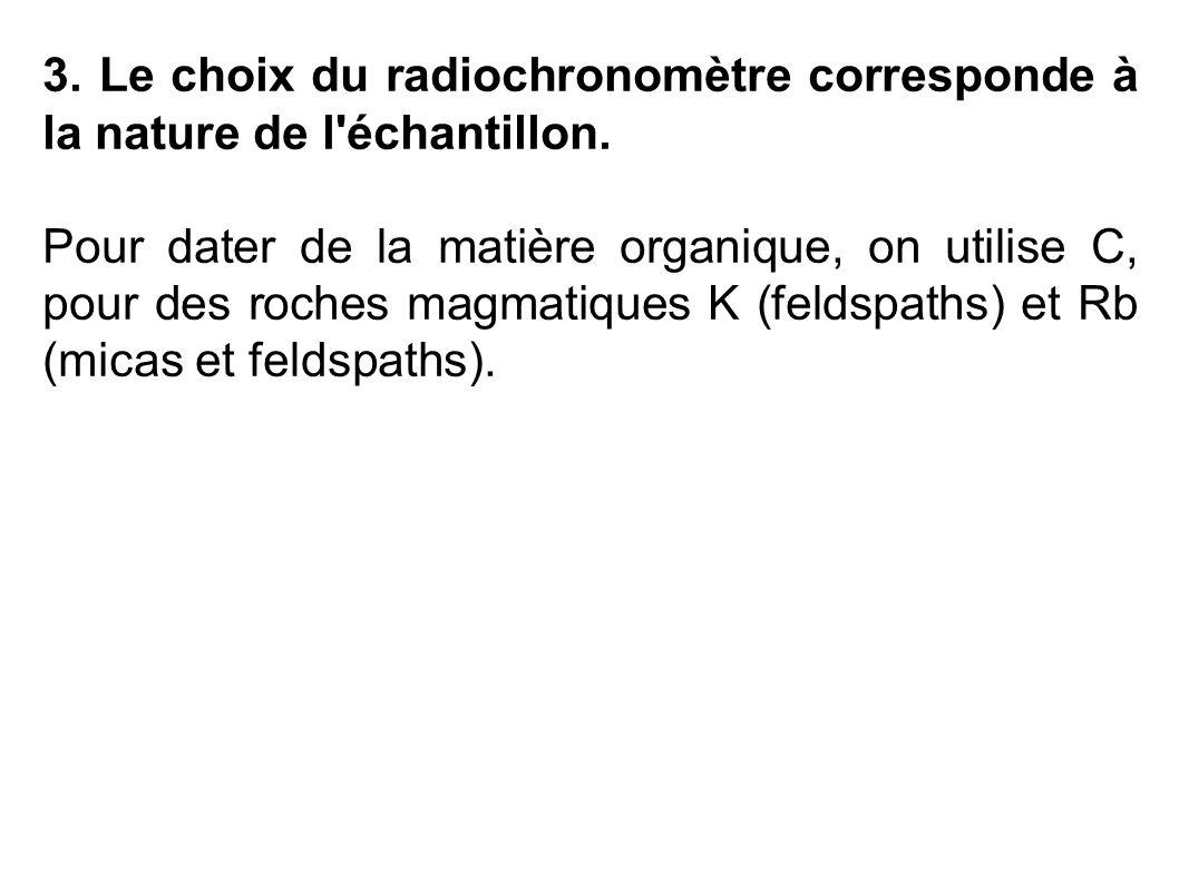 3. Le choix du radiochronomètre corresponde à la nature de l échantillon.
