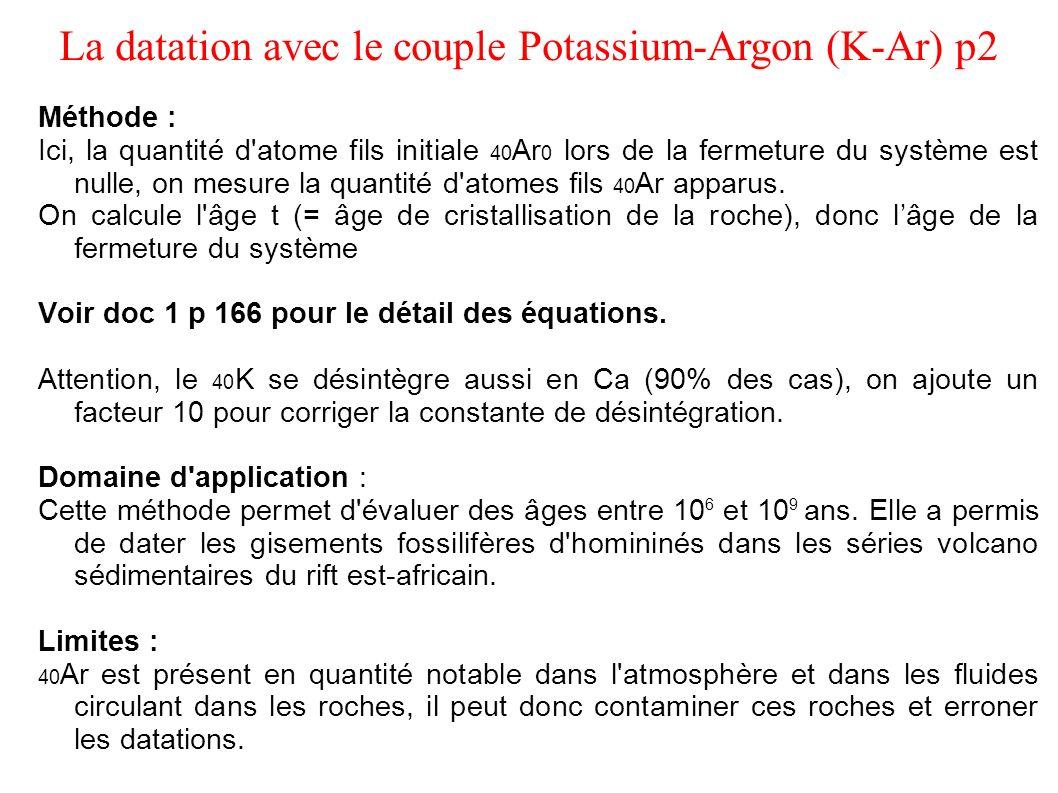 La datation avec le couple Potassium-Argon (K-Ar) p2