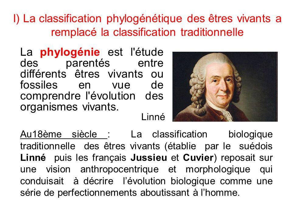 I) La classification phylogénétique des êtres vivants a remplacé la classification traditionnelle