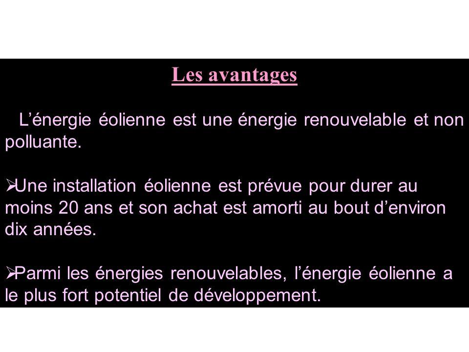 Les avantages L'énergie éolienne est une énergie renouvelable et non polluante.