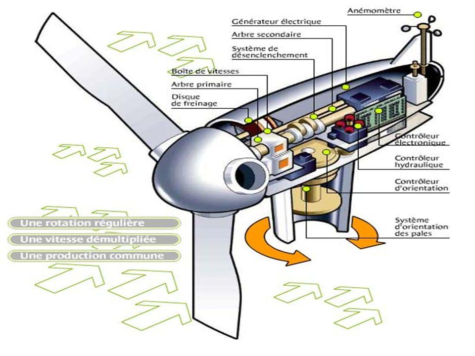 1 : Rotor 2 : Pales 3 : Nacelle 4 : Mât 5 : Dispositif d'orientation de la nacelle 6 : Boîte de vitesse 7 : Frein 8 : Système de désenclenchement 9 : Boîtier électronique de contrôle 10 : Générateur électrique 11 : Anénomètre et contrôle de la direction du vent