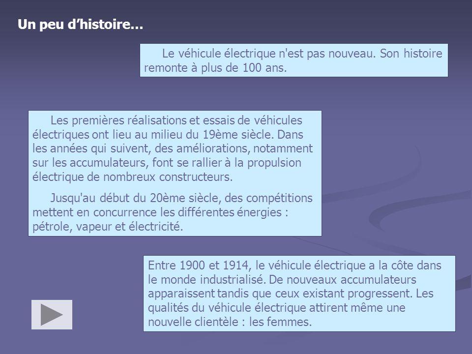 Un peu d'histoire… Le véhicule électrique n est pas nouveau. Son histoire remonte à plus de 100 ans.