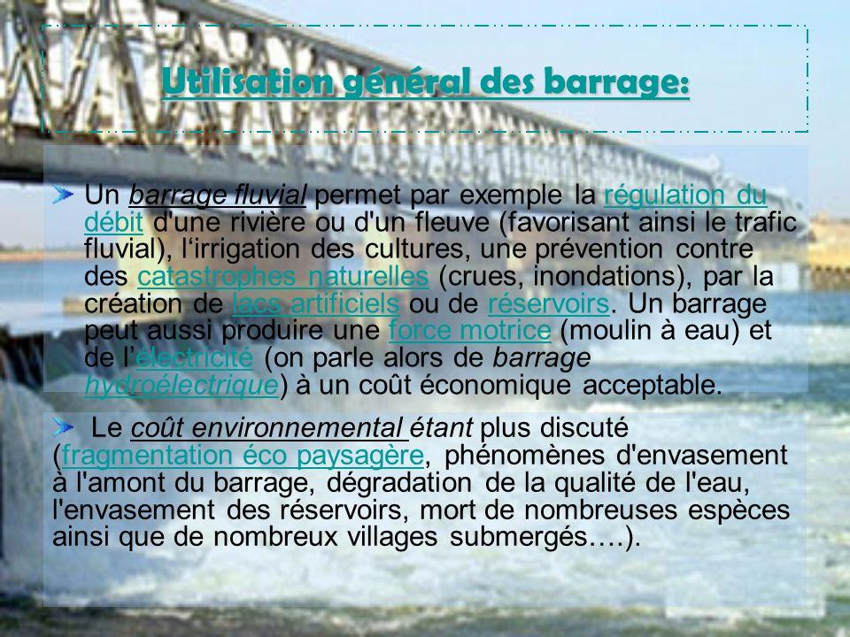 Utilisation général des barrage: