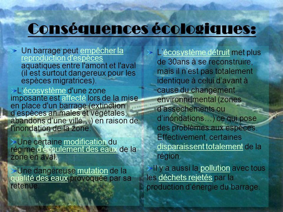 Conséquences écologiques: