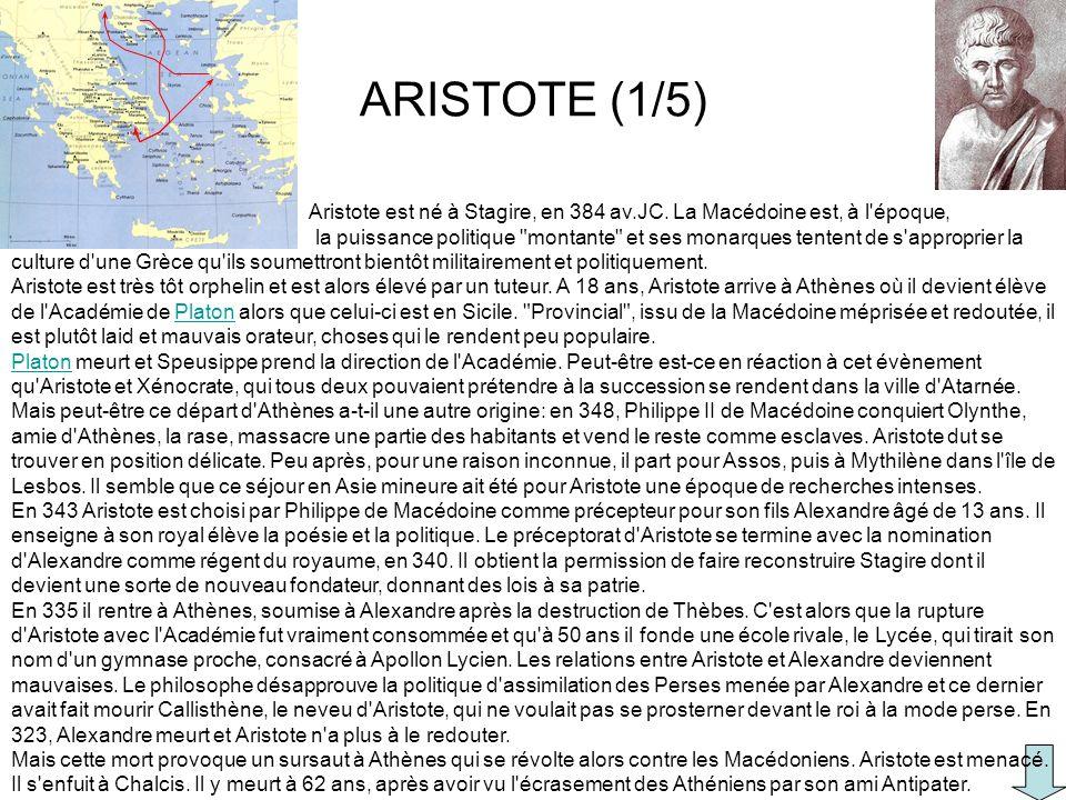 ARISTOTE (1/5) Aristote est né à Stagire, en 384 av.JC. La Macédoine est, à l époque,