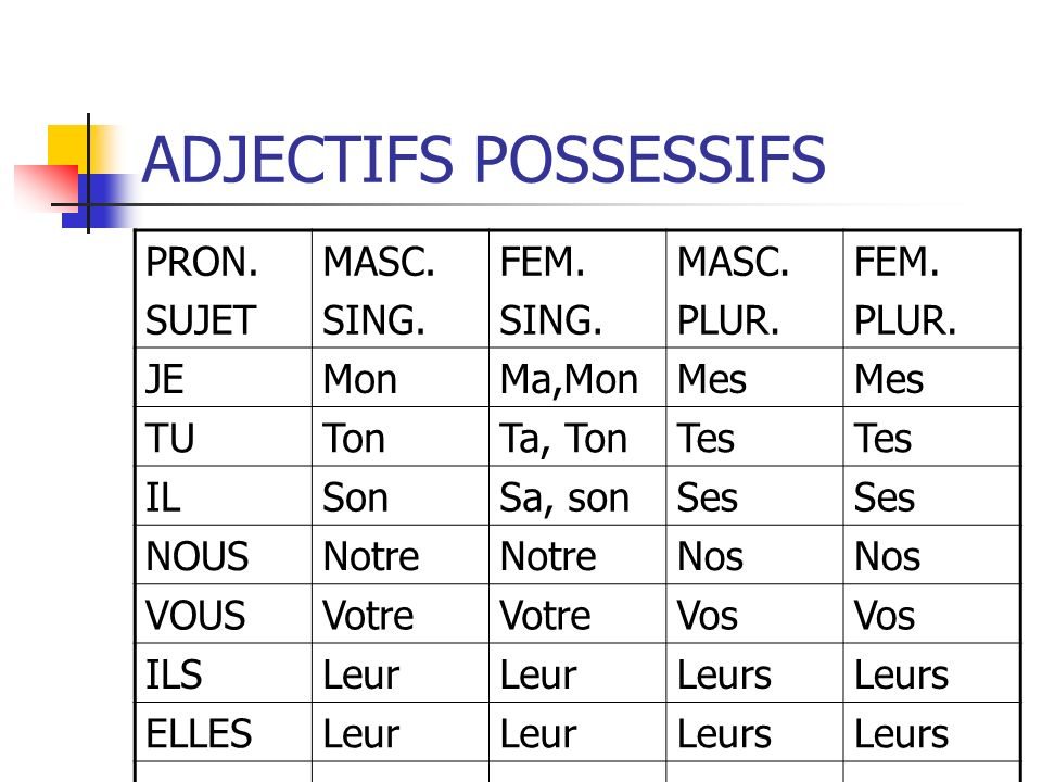 ADJECTIFS POSSESSIFS PRON. SUJET MASC. SING. FEM. PLUR. JE Mon Ma,Mon