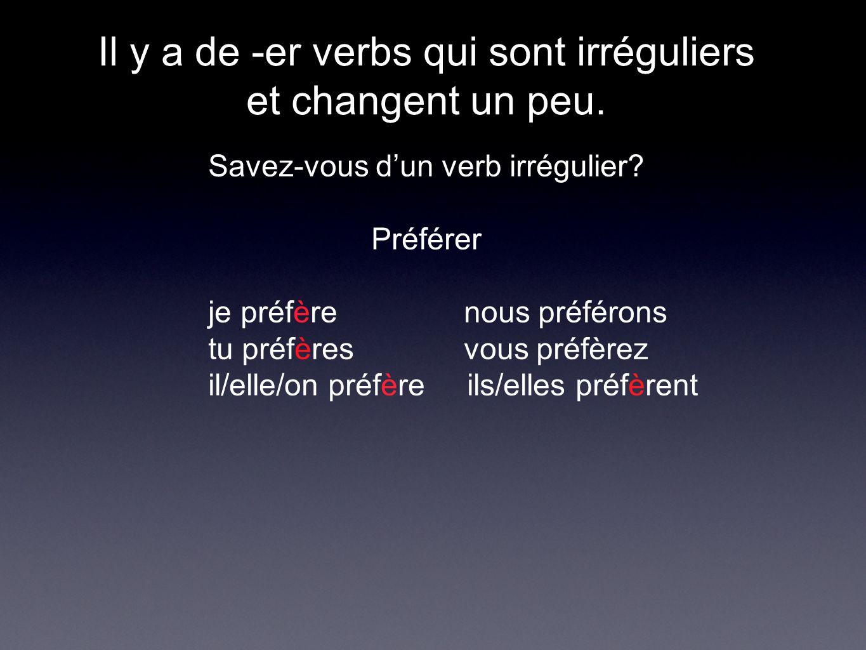 Il y a de -er verbs qui sont irréguliers et changent un peu.