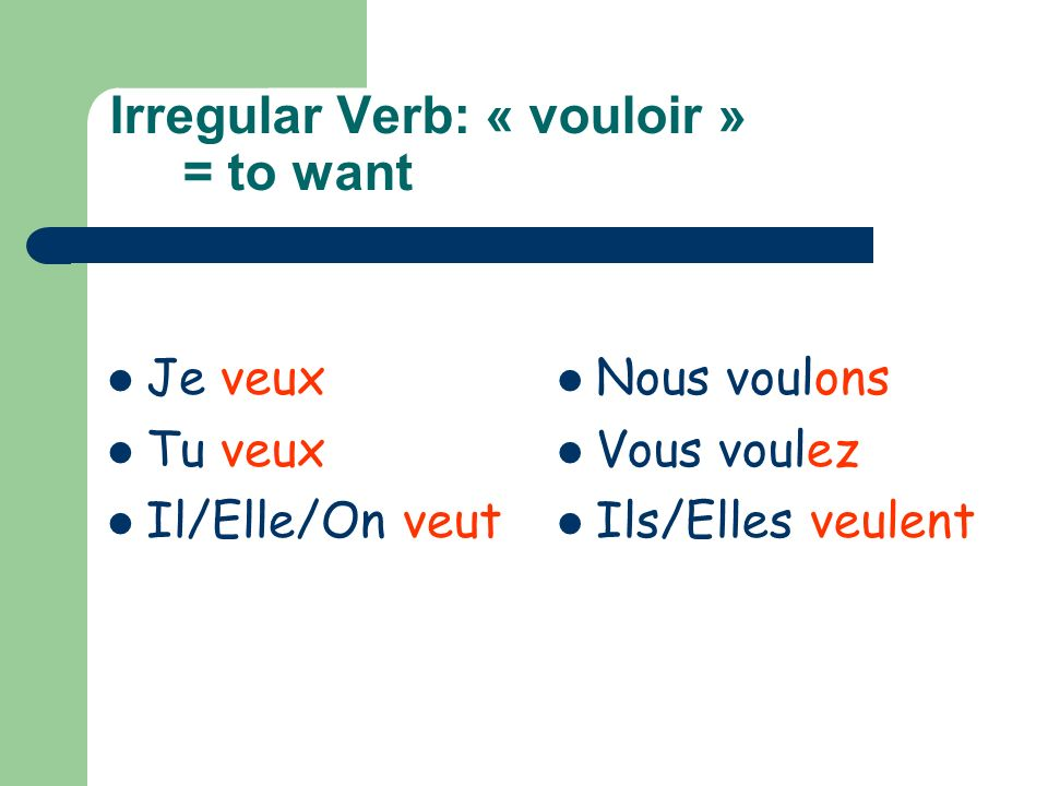 Irregular Verb: « vouloir » = to want