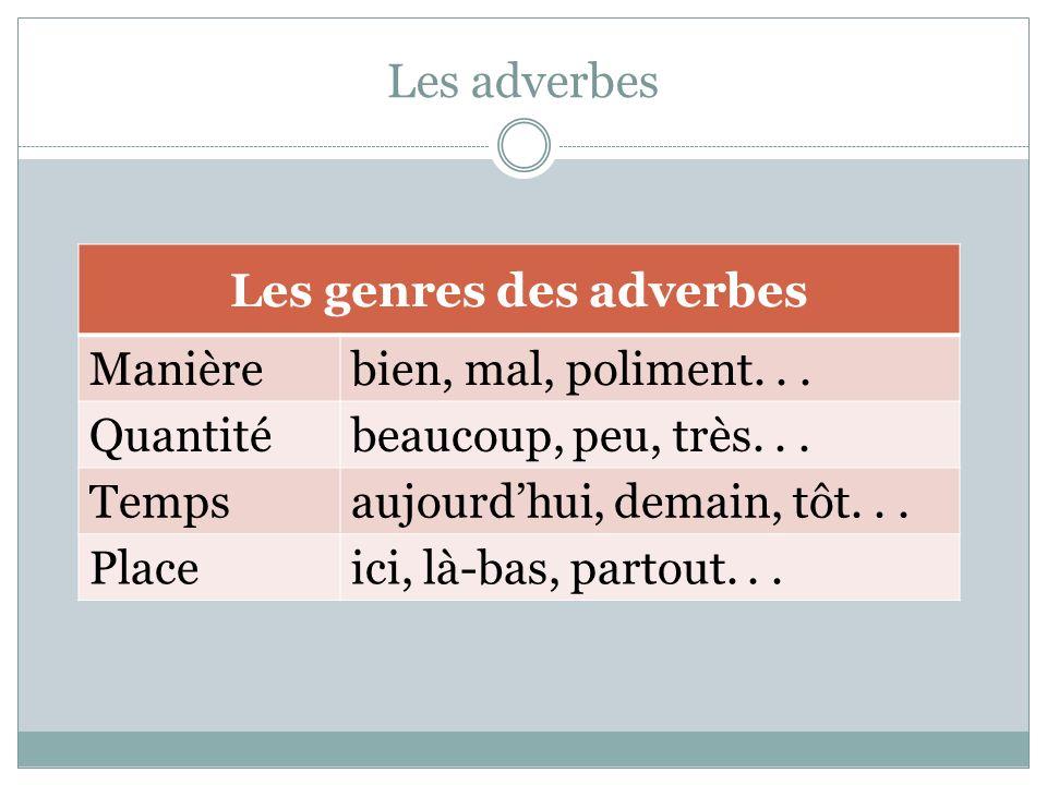 Les genres des adverbes