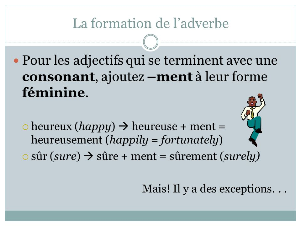 La formation de l'adverbe