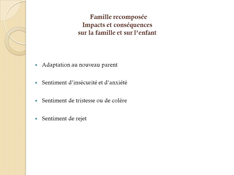 Famille recomposée Impacts et conséquences sur la famille et sur l'enfant