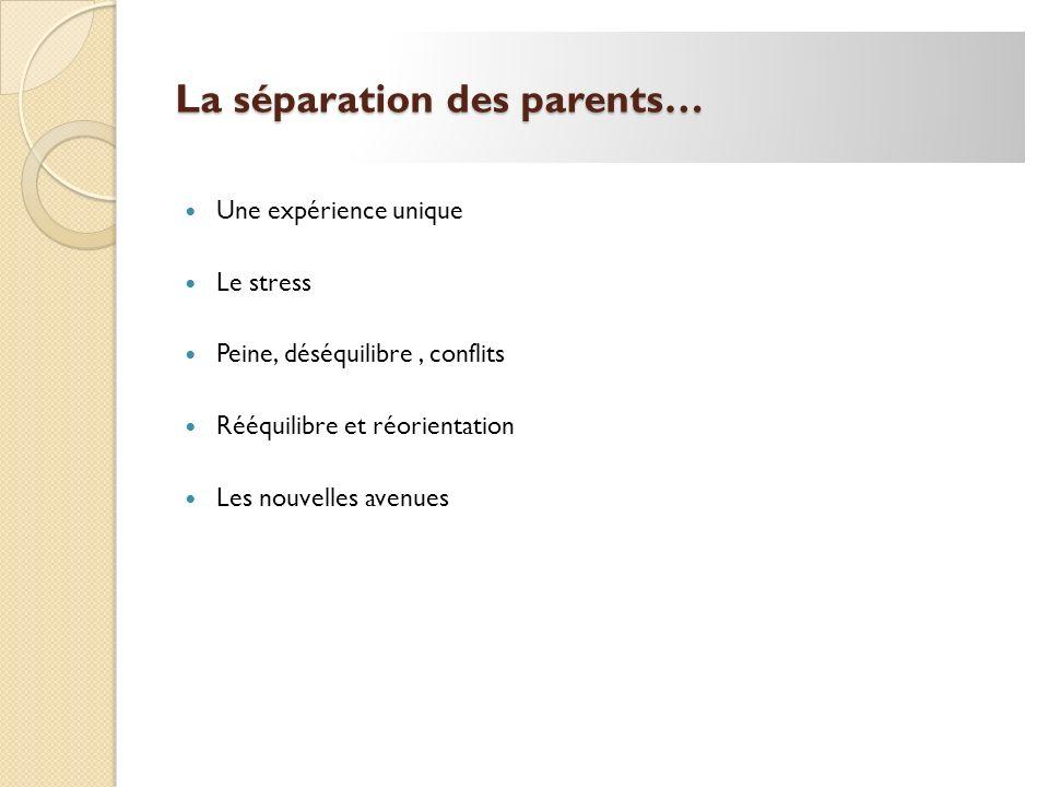 La séparation des parents…