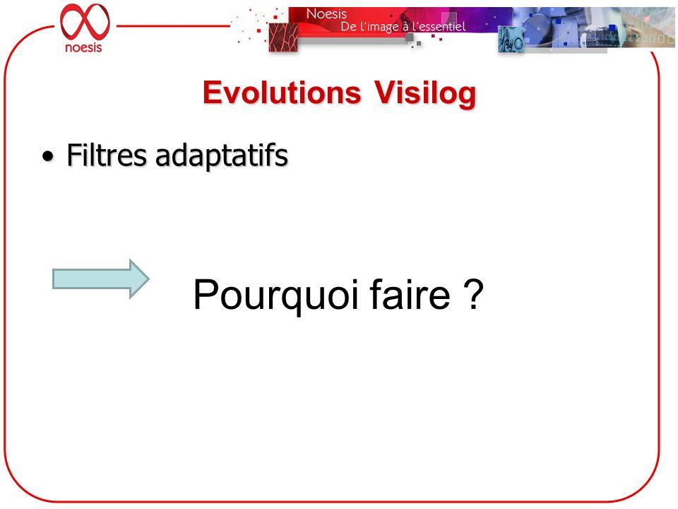 Evolutions Visilog Filtres adaptatifs Pourquoi faire