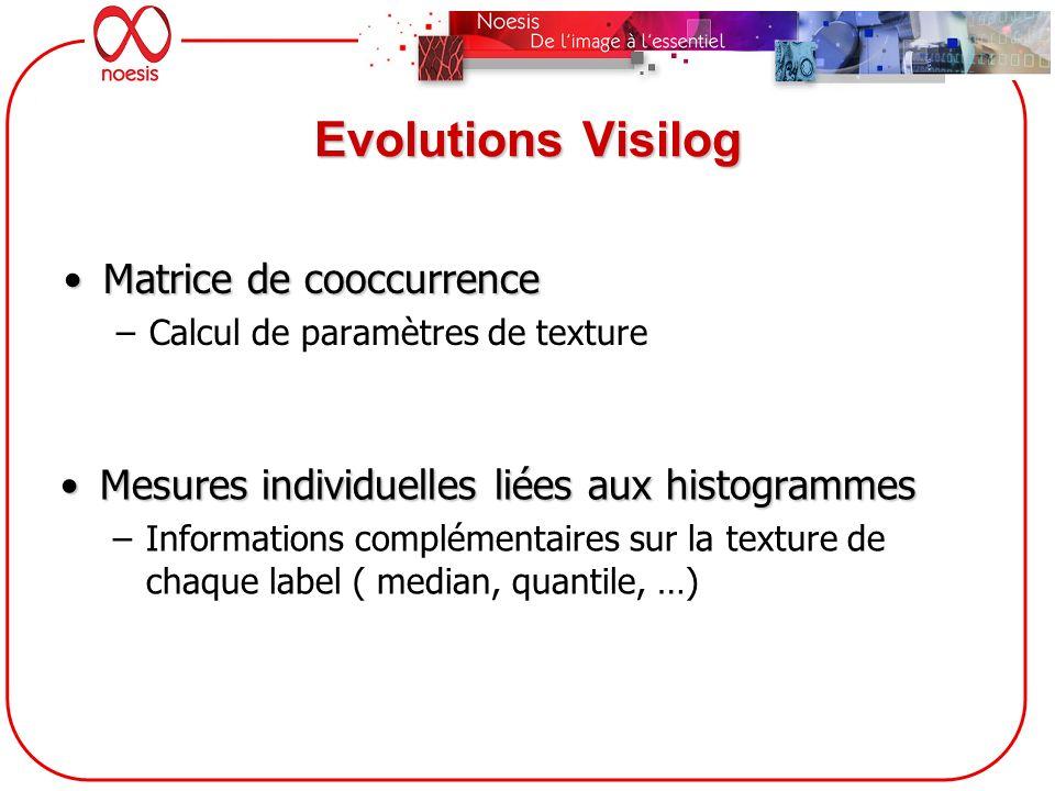 Evolutions Visilog Matrice de cooccurrence