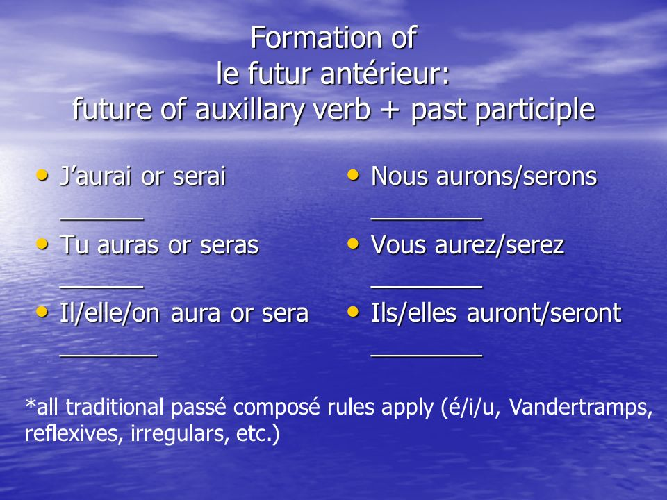 Formation of le futur antérieur: future of auxillary verb + past participle
