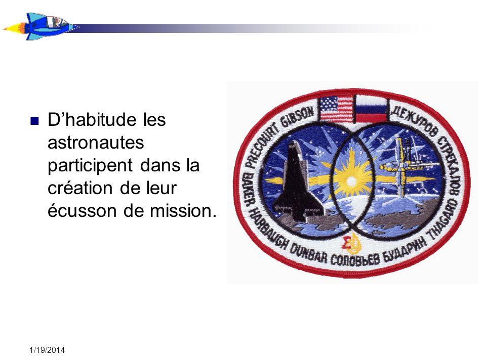 D'habitude les astronautes participent dans la création de leur écusson de mission.