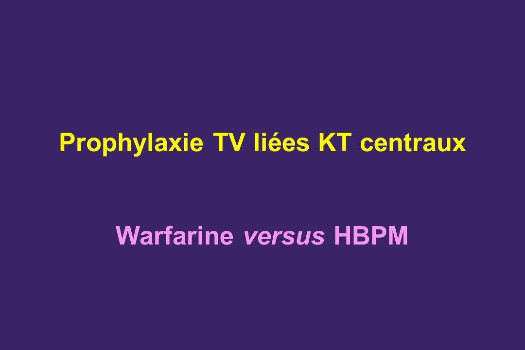 Prophylaxie TV liées KT centraux Warfarine versus HBPM