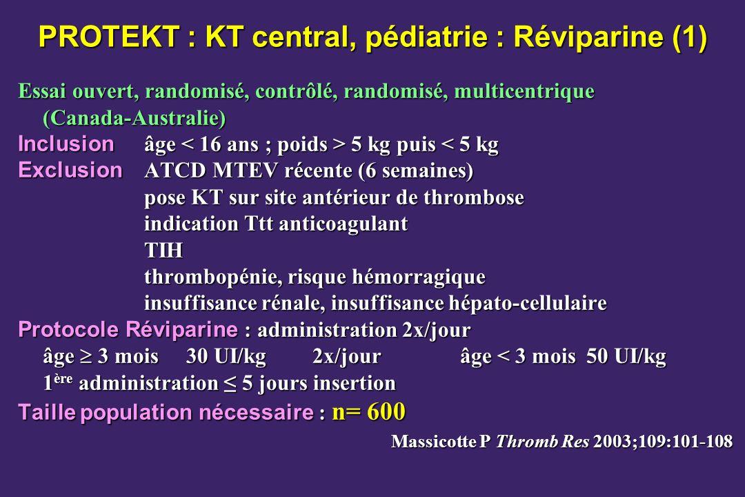 PROTEKT : KT central, pédiatrie : Réviparine (1)