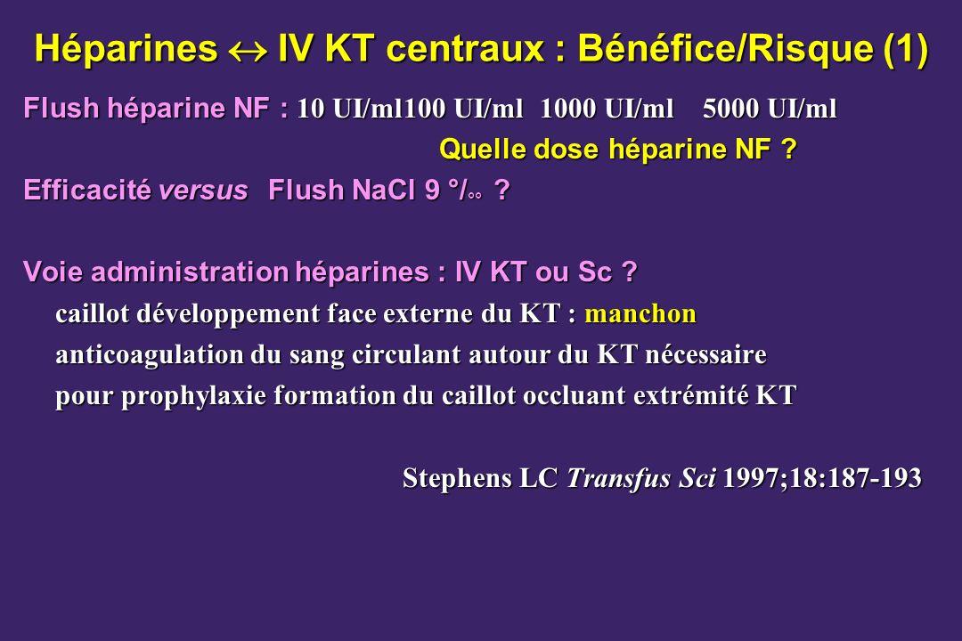 Héparines  IV KT centraux : Bénéfice/Risque (1)