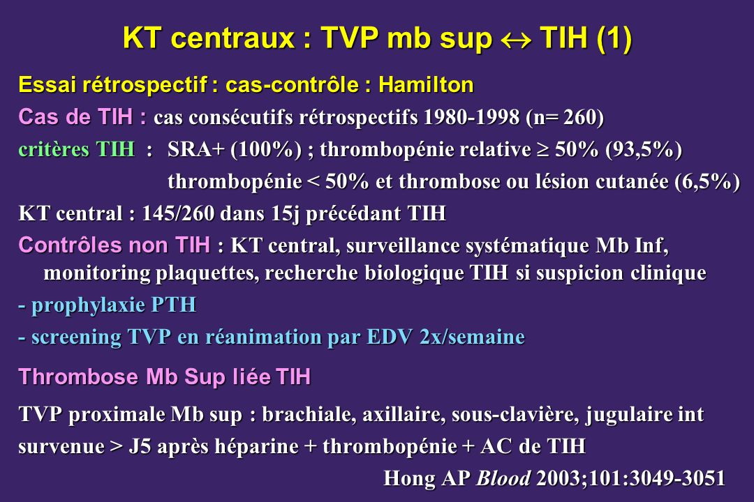 KT centraux : TVP mb sup  TIH (1)
