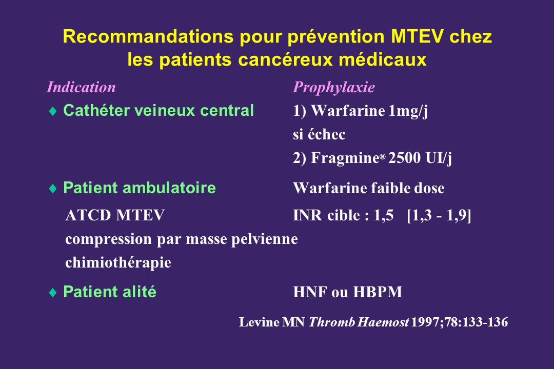 Recommandations pour prévention MTEV chez les patients cancéreux médicaux