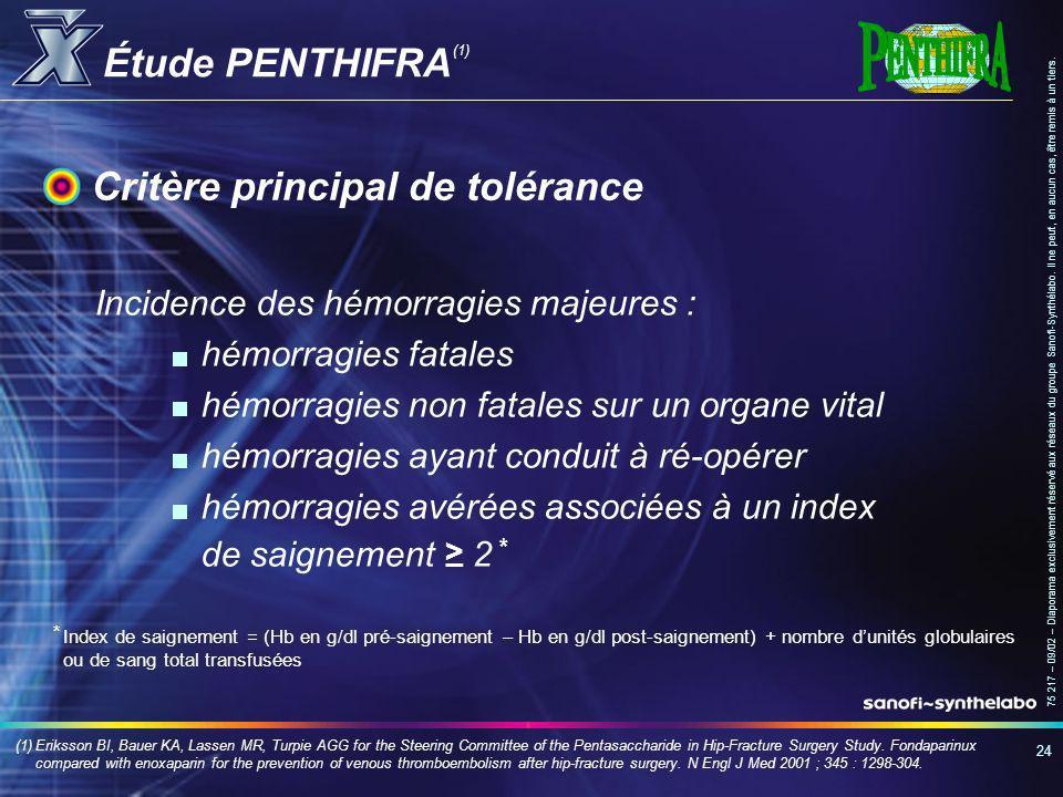 Critère principal de tolérance