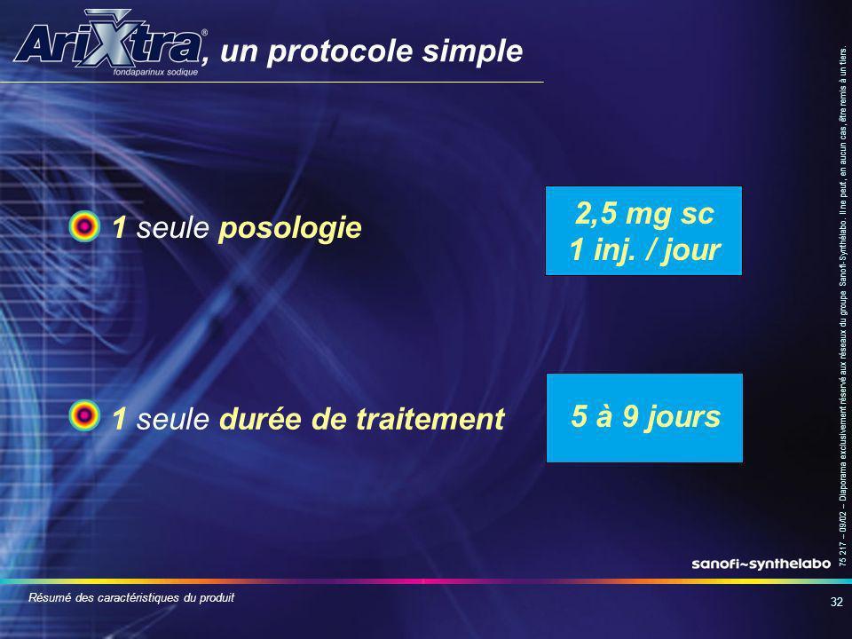 , un protocole simple 2,5 mg sc 1 seule posologie 1 inj. / jour