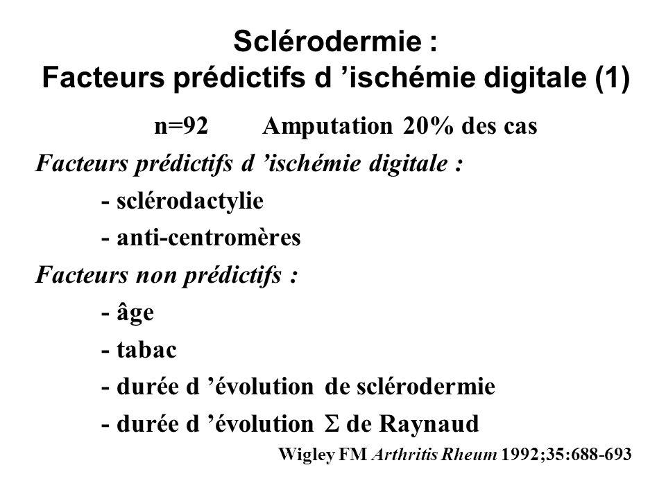 Sclérodermie : Facteurs prédictifs d 'ischémie digitale (1)
