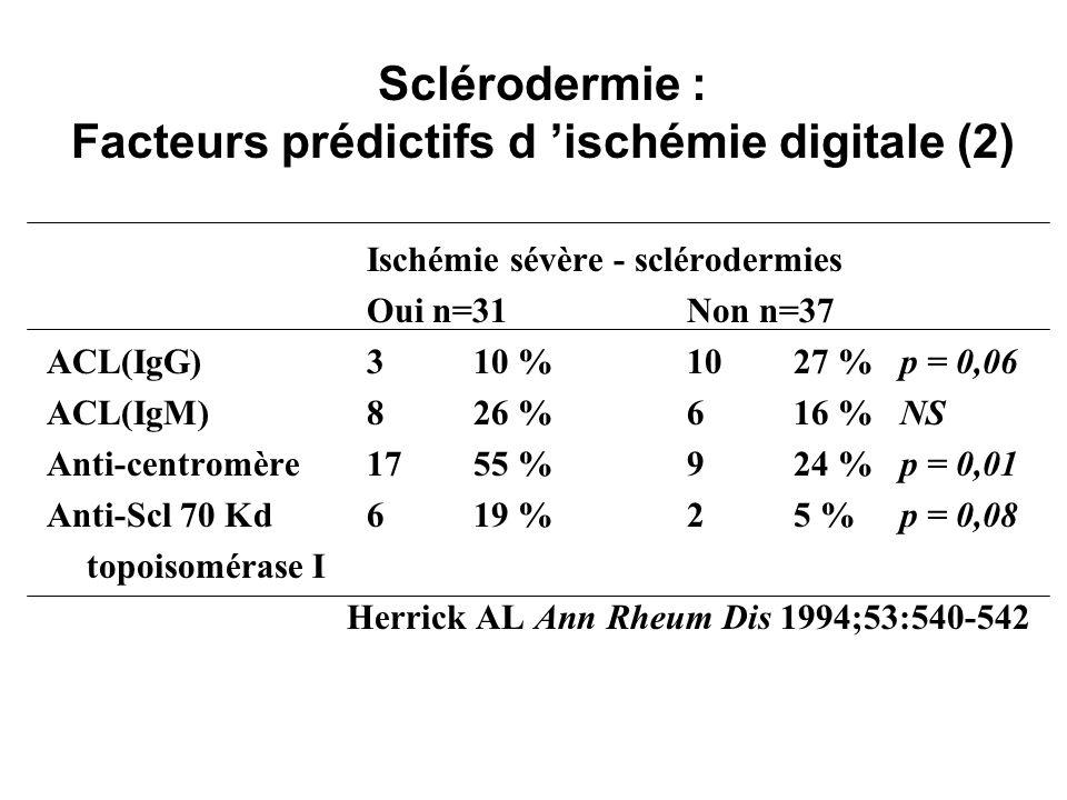 Sclérodermie : Facteurs prédictifs d 'ischémie digitale (2)