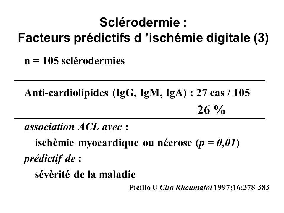 Sclérodermie : Facteurs prédictifs d 'ischémie digitale (3)