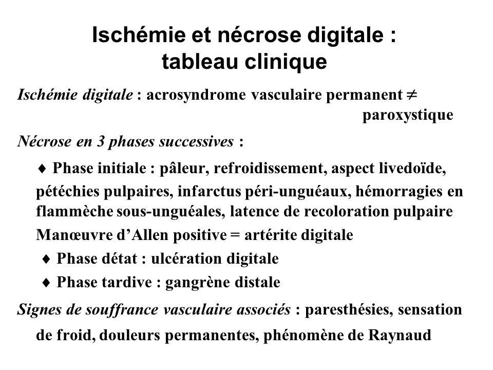 Ischémie et nécrose digitale : tableau clinique