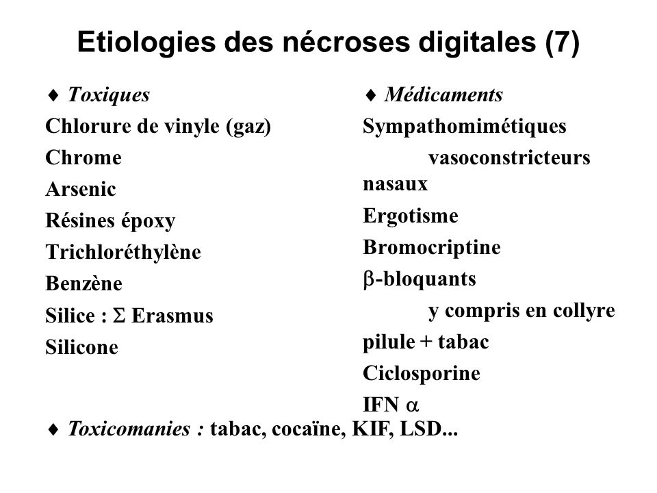 Etiologies des nécroses digitales (7)
