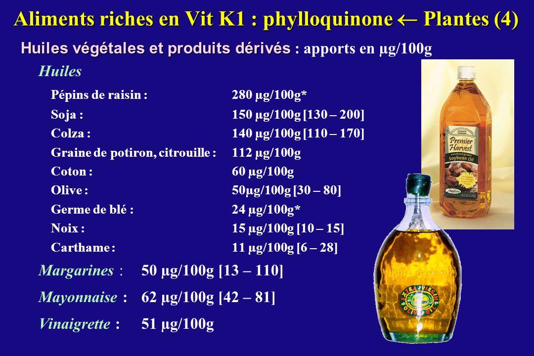 Aliments riches en Vit K1 : phylloquinone  Plantes (4)