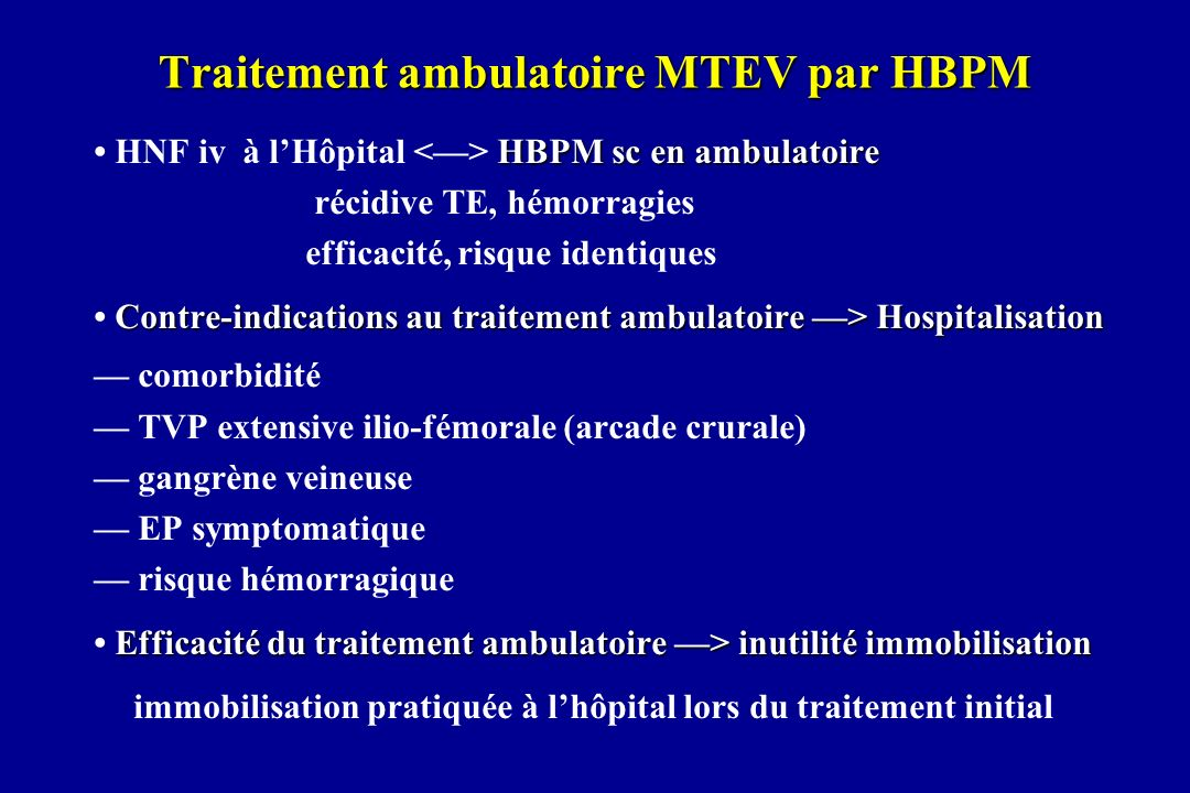Traitement ambulatoire MTEV par HBPM