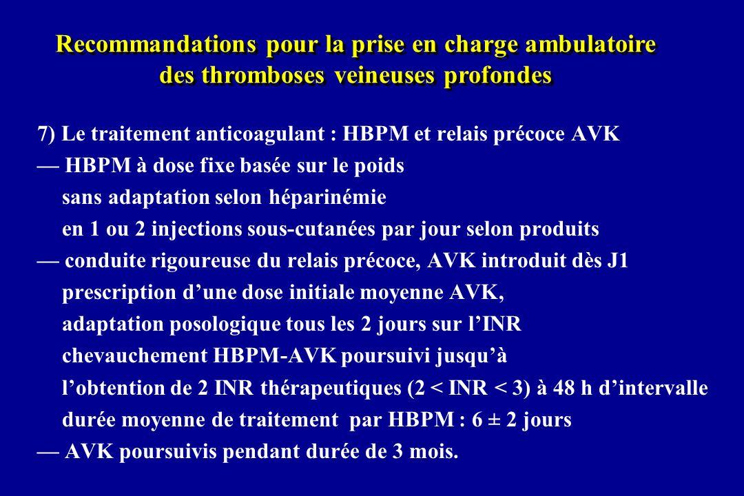 Recommandations pour la prise en charge ambulatoire des thromboses veineuses profondes