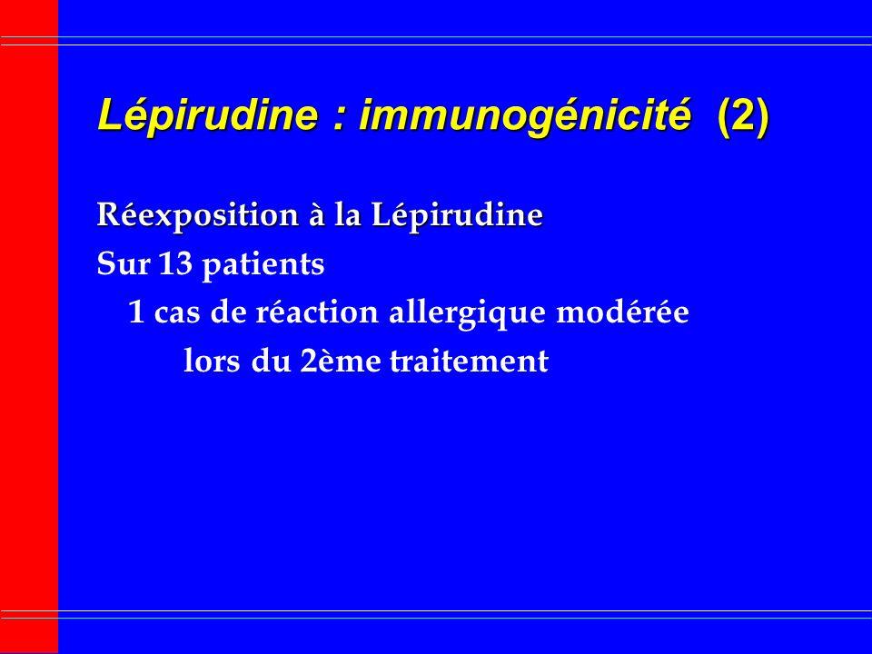 Lépirudine : immunogénicité (2)