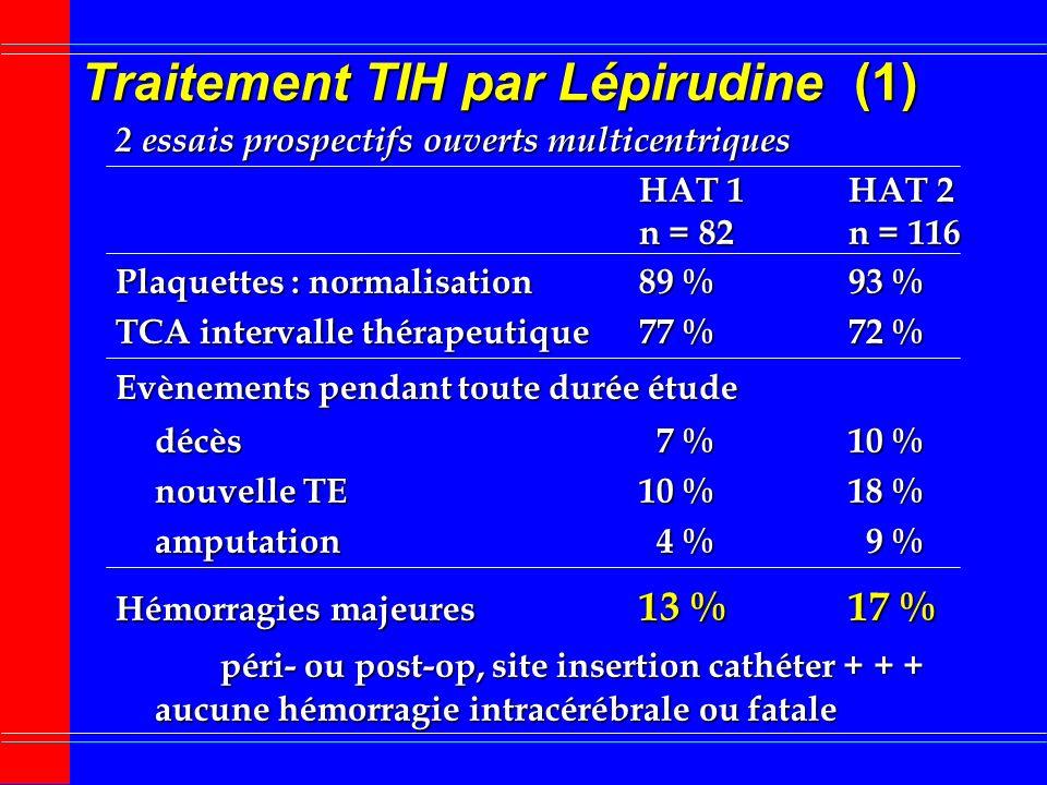 Traitement TIH par Lépirudine (1)