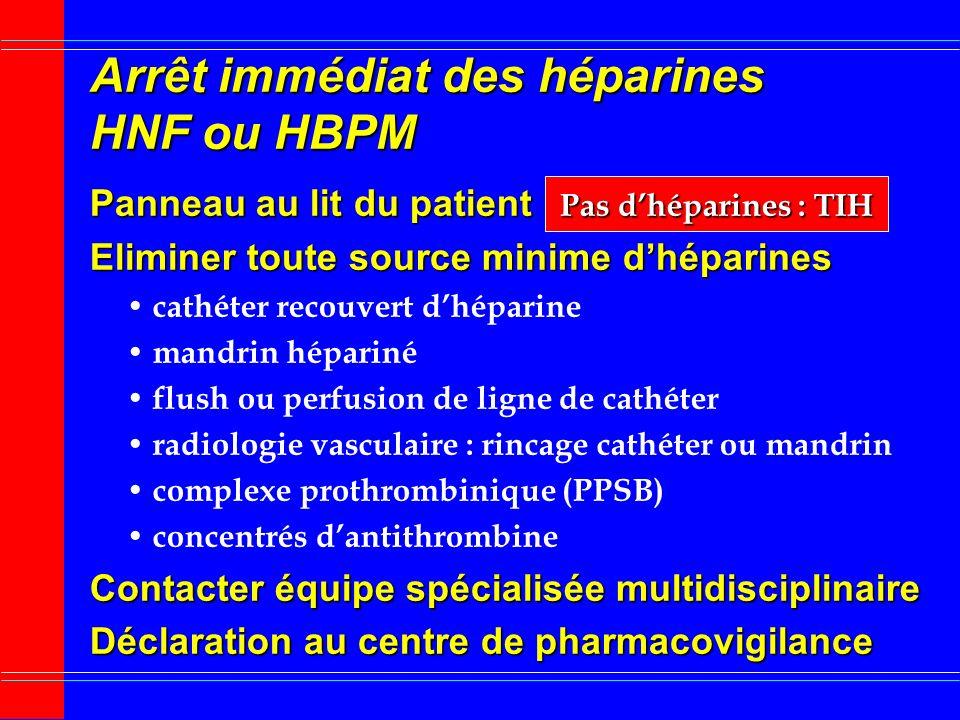 Arrêt immédiat des héparines HNF ou HBPM