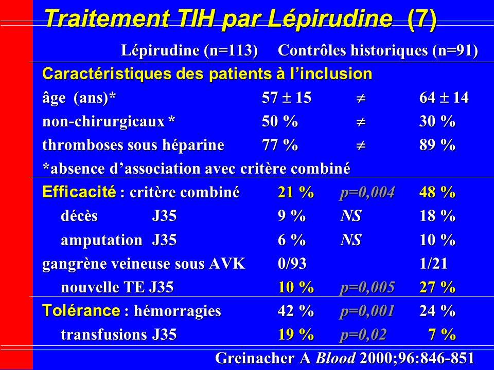 Traitement TIH par Lépirudine (7)