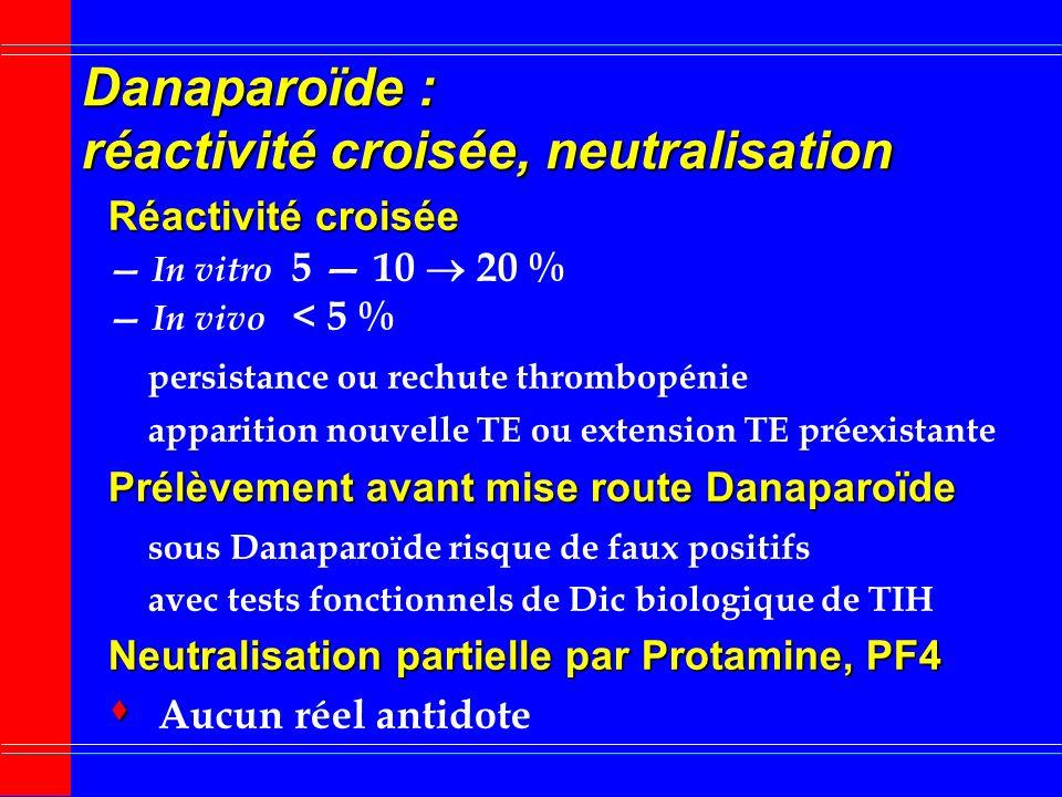 Danaparoïde : réactivité croisée, neutralisation